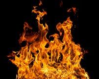 De vlammen van de brand op een zwarte achtergrond Royalty-vrije Stock Fotografie