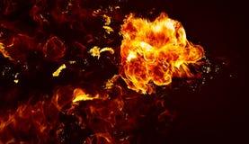 De vlammen van de brand op een zwarte achtergrond Stock Foto's