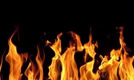 De vlammen van de brand op zwarte achtergrond Stock Fotografie