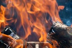 De vlammen van een kampvuur sluiten omhoog Stock Afbeelding