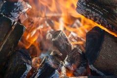 De vlammen van een kampvuur sluiten omhoog Royalty-vrije Stock Foto's