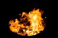 De vlammenachtergrond van de brand Stock Fotografie