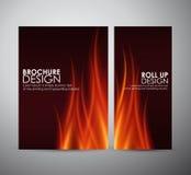 De vlammenachtergrond van de brand Brochure bedrijfsontwerpmalplaatje of broodje omhoog Royalty-vrije Stock Afbeelding