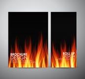 De vlammenachtergrond van de brand Brochure bedrijfsontwerpmalplaatje of broodje omhoog Stock Afbeeldingen
