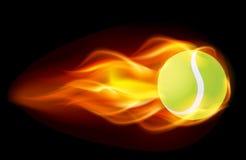 De vlammende Bal van het Tennis Royalty-vrije Stock Afbeeldingen