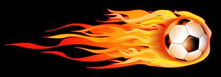 De vlammende Bal van het Voetbal Stock Afbeelding