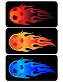 De vlammende Bal van het Voetbal Stock Foto