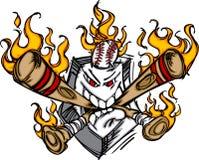 De vlammende Bijtende Knuppels van het Gezicht van Plat van het Honkbal stock illustratie