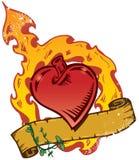 De vlammende Vector van de Stijl van de Tatoegering van het Hart met Banner Stock Afbeelding
