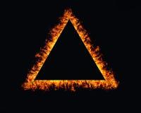 De vlammenkader van de driehoeksbrand op zwarte Stock Afbeelding