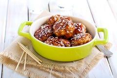 De vleesballetjes van de Teriyakikip Royalty-vrije Stock Afbeeldingen