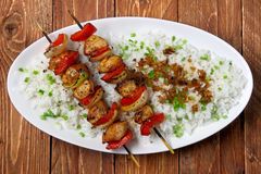 De vleespennen van de kip met rijst Royalty-vrije Stock Afbeeldingen