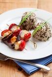 De vleespennen van de kip met rijst Stock Foto's
