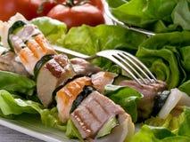 De vleespennen van de tonijn en van de zalm Stock Afbeelding