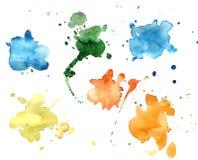 De vlekken van de kleurenwaterverf Stock Foto's
