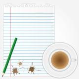 De vlekken van de koffie op leeg document blad Royalty-vrije Stock Fotografie