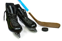 De vleten en de stok van het hockey Stock Fotografie