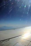 De vleugel en de zon van het vliegtuig Royalty-vrije Stock Foto