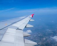 De vleugel van vliegtuigen Stock Fotografie