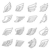 De vleugels schetsen grijze pictogrammen vectorreeks Minimalisticontwerp Stock Afbeeldingen
