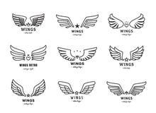 De vleugels schetsen zwarte embleem vectorreeks Deel Twee royalty-vrije illustratie
