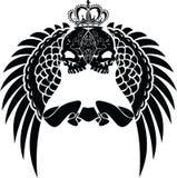 De Vleugels van één Schedel van de Kroon van de Kleur Stock Afbeeldingen