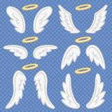 De vleugels van de beeldverhaalengel Heilige engelachtige nimbus en engelenvleugel Het vliegen gevleugelde Angeles vectorillustra vector illustratie