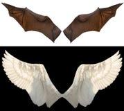 De vleugels van de duivel en van de engel stock foto