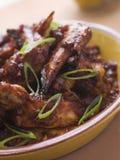 De Vleugels van de Kip van de Spaanse peper en van het Knoflook Stock Foto's