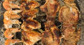 De vleugels van garnalen, van het varkensvlees en van de kip Stock Fotografie