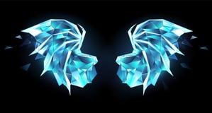 De vleugels van de ijsdraak op zwarte achtergrond royalty-vrije illustratie