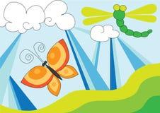 De vlieg en de vlinder van de draak over blauwe hemel vector illustratie