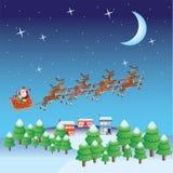 De vlieg van de Kerstman in ar met deers. Stock Foto
