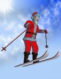 De vlieg van de kerstman op ski stock afbeeldingen