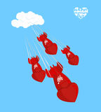 De vlieg van de liefdebom om op 14 te landen Februari Rood nam toe Shells, CH Stock Fotografie