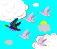 De vlieg van eenden op het zuiden. Stock Afbeeldingen