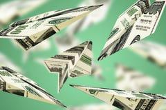 De vlieg van het de dollarsvliegtuig van het illustratiegeld op geïsoleerde witte achtergrond Stock Fotografie