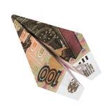 De vlieg van het de roebelvliegtuig van het illustratiegeld op geïsoleerde witte achtergrond Royalty-vrije Stock Afbeeldingen