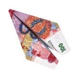 De vlieg van het de yuansvliegtuig van het illustratiegeld op geïsoleerde witte achtergrond Royalty-vrije Stock Fotografie