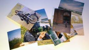 De vlieg van het Photgeheugen vanaf collage op witte achtergrond verdwijnt stock videobeelden