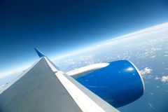 De vlieg van het vliegtuig Stock Foto