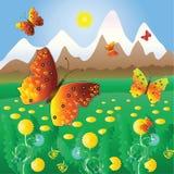 De vlieg van vlinders over kleuren van een bergweide. Stock Foto's