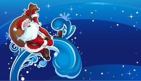 De vliegen van de kerstman op vakantie horizont Stock Foto's