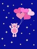 De vliegen van de Teddybeer op luchtbal. Royalty-vrije Stock Afbeeldingen