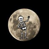 De vliegen van het Hallowenskelet in de maan Royalty-vrije Stock Fotografie