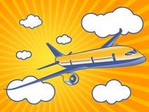De vliegen van het vliegtuig aan door wolken Stock Foto's