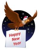 De vliegende Amerikaanse adelaar in Kerstman` s hoed draagt Gelukkige Nieuwjaarskaart royalty-vrije illustratie