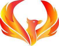 De vliegende brand Phoenix van het voorraadembleem Stock Afbeeldingen