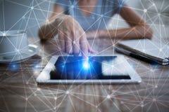 De vliegende 3D achtergrond van het netwerkgebied Bedrijfstechnologie en Internet-concept Stock Fotografie
