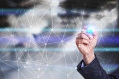 De vliegende 3D achtergrond van het netwerkgebied Bedrijfstechnologie en Internet-concept Stock Foto